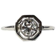 Art Deco Diamond and Platinum Solitaire Ring