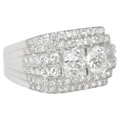 Art Deco Diamond and Platinum Step Design Ring Centered by Old Mine Cut Diamonds