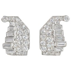 Art Deco Diamond and Platinum Stylized Cornucopia Clip Earrings