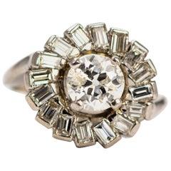 Art Deco Diamond and Platinum Swirl Cluster Ring