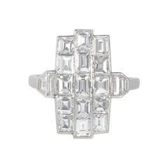 Art Deco DIamond and Platinum Three-Row Vertical Plaque Ring