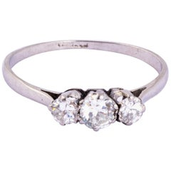 Art Deco Diamond and Platinum Three-Stone Ring