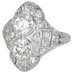Art Deco Diamond and Platinum Two-Stone Ring, 1930s