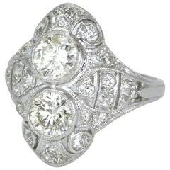 Art Deco Diamond and Platinum Two-Stone Ring, 1930s
