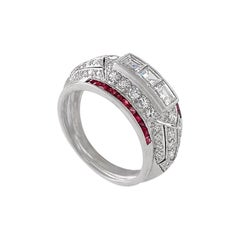 Art Deco Diamond and Ruby Bombé Ring