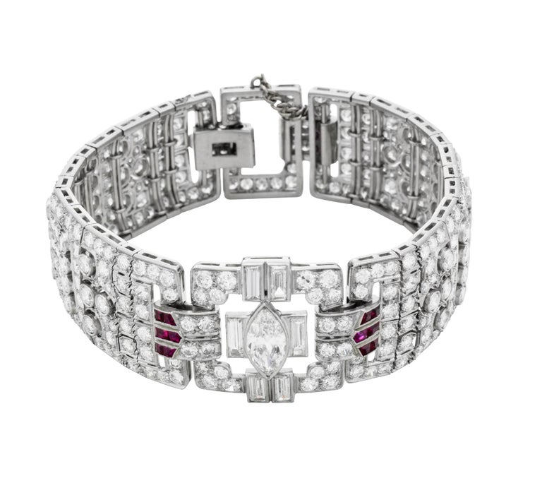 Art Deco Diamond and Ruby Bracelet In Excellent Condition For Sale In New York, NY