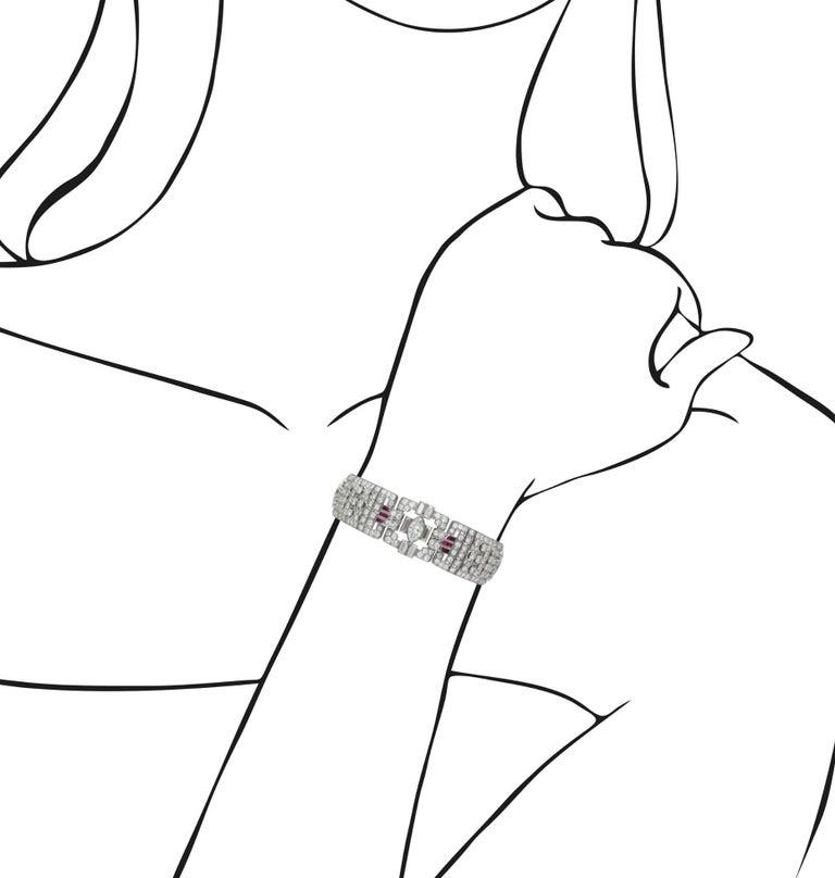 Women's Art Deco Diamond and Ruby Bracelet For Sale