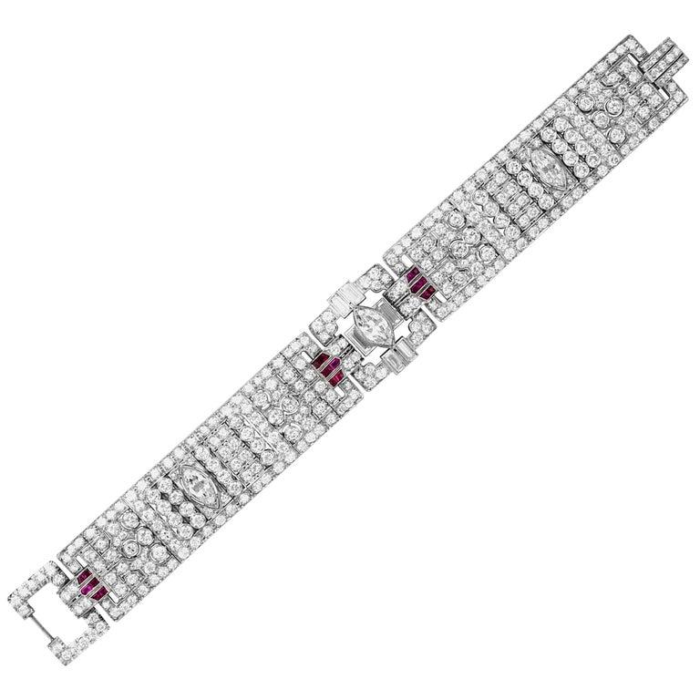 Art Deco Diamond and Ruby Bracelet For Sale
