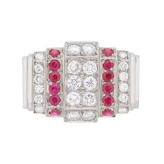 Art Deco Diamond and Ruby Cluster Ring, circa 1940s