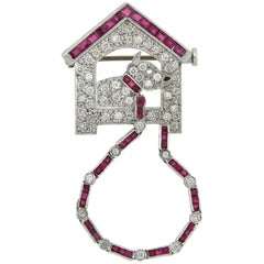 Art Deco Diamond and Ruby Dog on Leash in House Pin