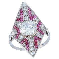 Art Deco Diamond and Ruby Navette Ring Ring