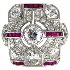 Art Deco Diamond and Ruby Tablet Ring in Platinum, Circa 1925