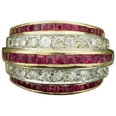 Art Deco Diamond and Ruby Ring/Wedding Band in Rose Gold and Platinum