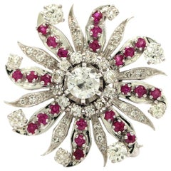 Art Deco Diamond and Ruby Sunburst Brooch