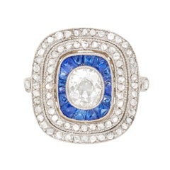 Art Deco Diamond and Sapphire Cluster Ring, circa 1920s