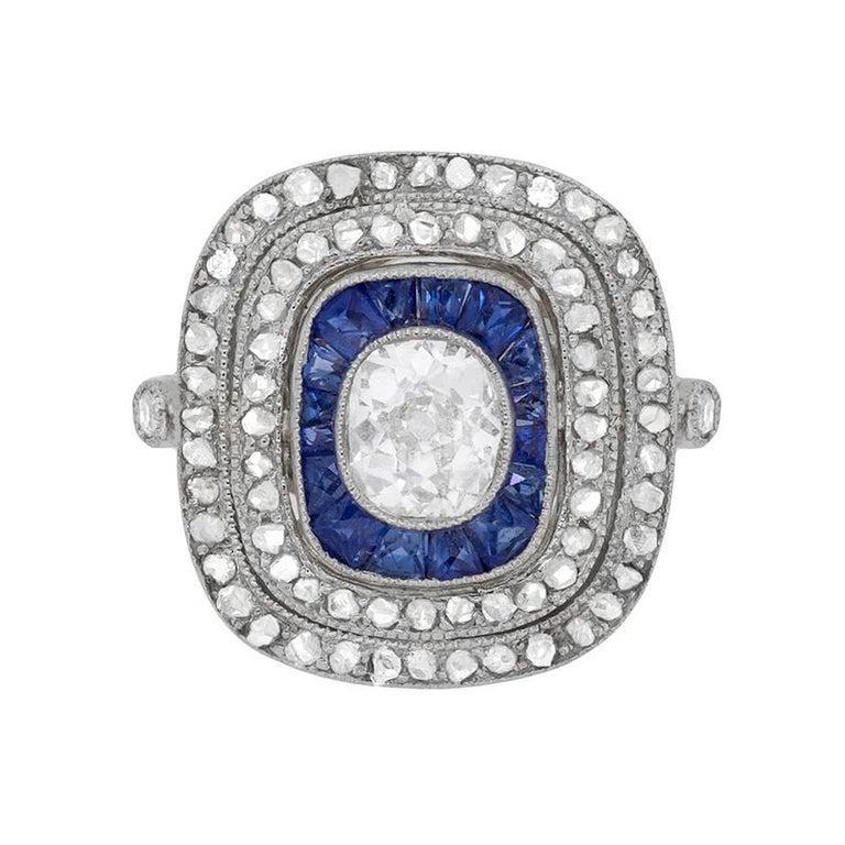 Art Deco Diamond and Sapphire Cluster Ring, circa 1920s