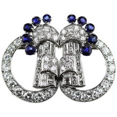 Art Deco 1920 Diamond & Sapphire Double Clip Brooch in 18K White Gold