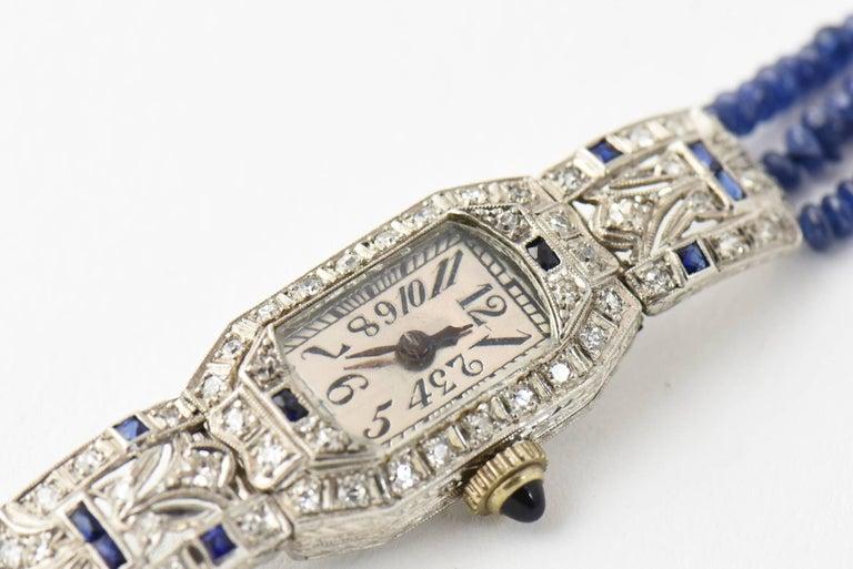 Women's Ladies Platinum Diamond Sapphire Filigree Art Deco Dress Wrist Watch For Sale