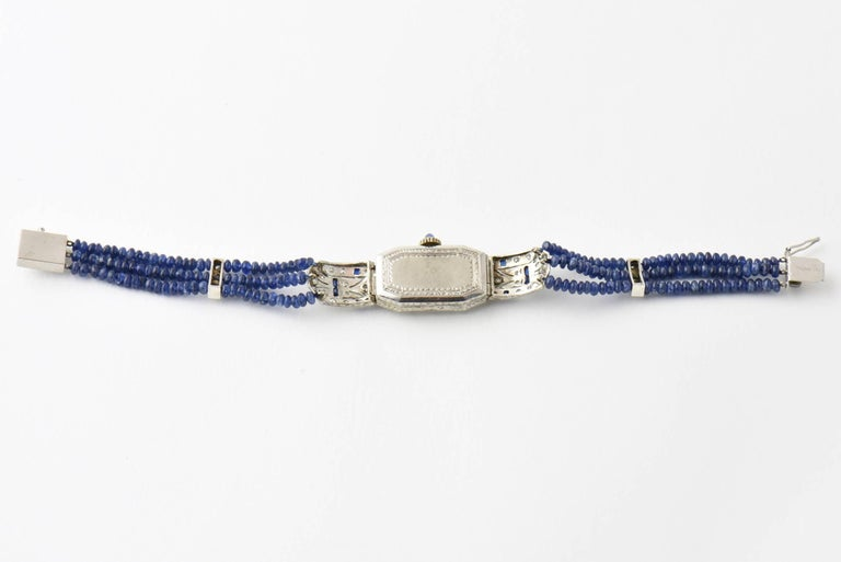 Ladies Platinum Diamond Sapphire Filigree Art Deco Dress Wrist Watch For Sale 1
