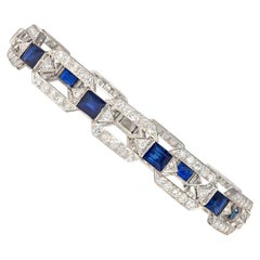 Art Deco Diamond and Sapphire Open Hexagonal Link Bracelet