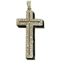 Art Decó Diamond and Sapphire Platinum 18 Karat Yellow Gold Cross Pendant