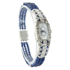 Art Deco Diamond and Sapphire Platinum and White Gold Ladies Watch