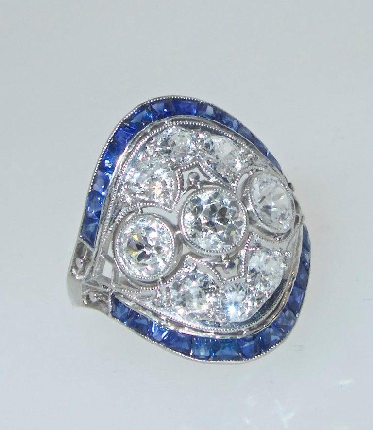 Art Deco Ring mit Diamanten und Saphiren, um 1920 2