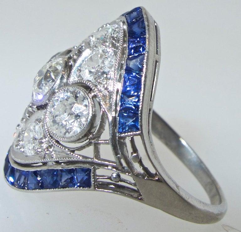 Art Deco Ring mit Diamanten und Saphiren, um 1920 3