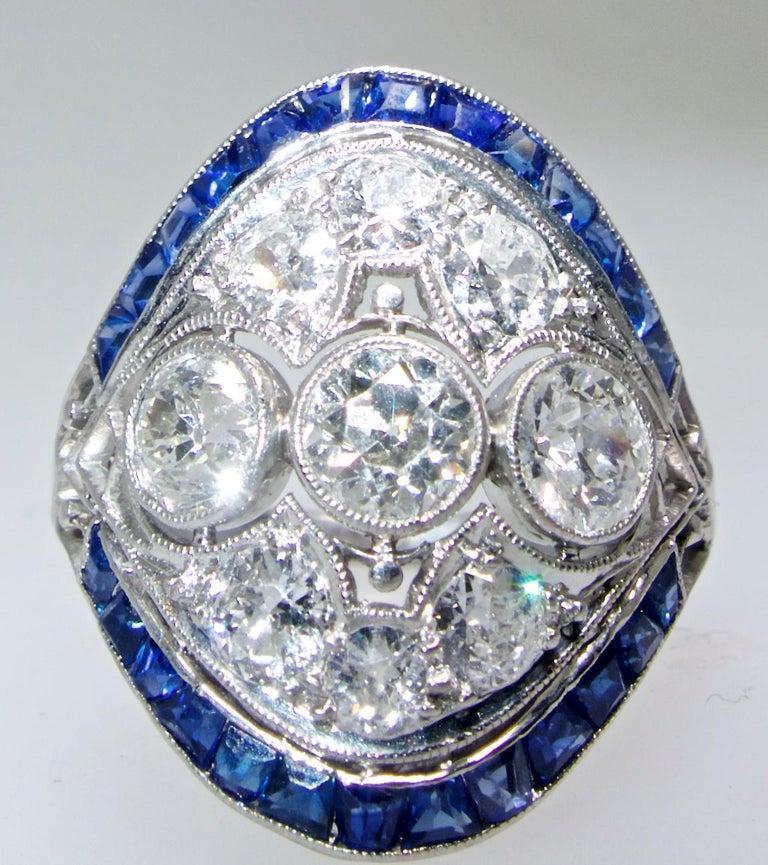 Art Deco Ring mit Diamanten und Saphiren, um 1920 4