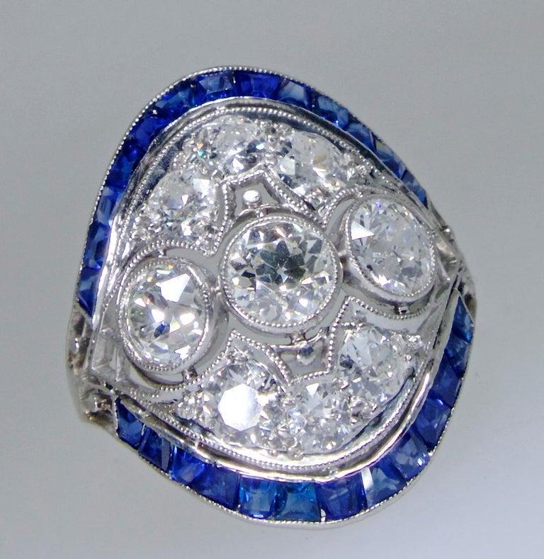 Art Deco Ring mit Diamanten und Saphiren, um 1920 5
