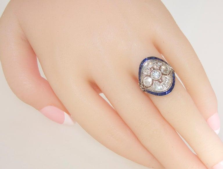 Art Deco Ring mit Diamanten und Saphiren, um 1920 7