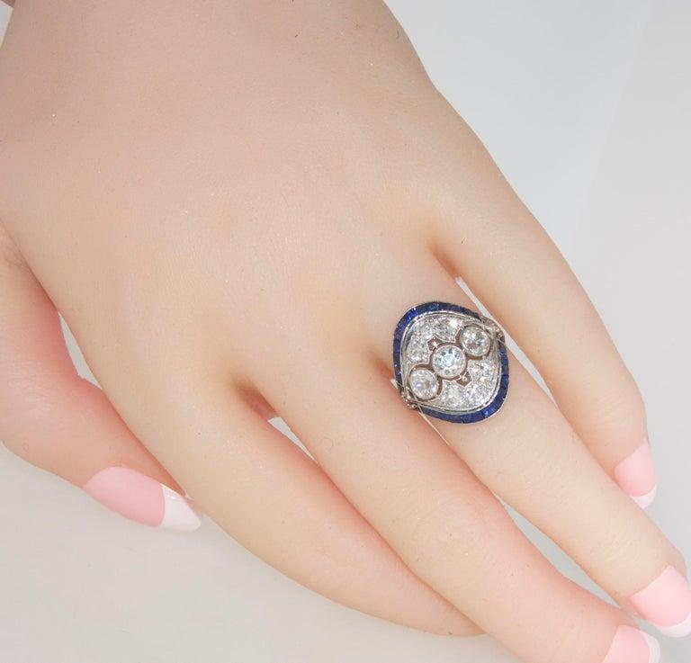 Art Deco Ring mit Diamanten und Saphiren, um 1920 8