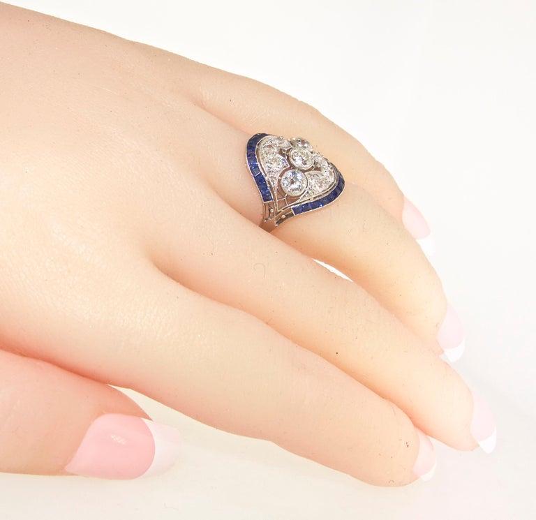 Art Deco Ring mit Diamanten und Saphiren, um 1920 9