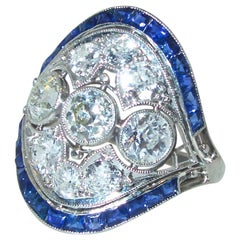 Art Deco Diamond and Sapphire Ring, circa 1920