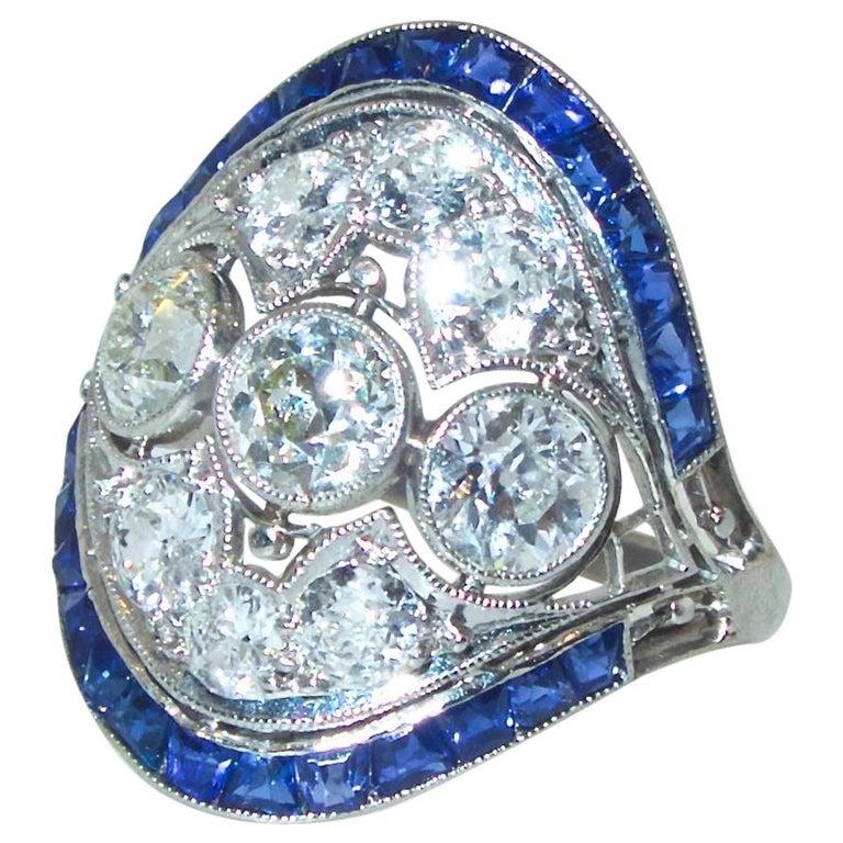 Art Deco Ring mit Diamanten und Saphiren, um 1920 1