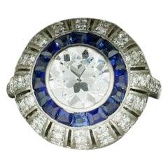 Art Deco Diamond and Sapphire Ring in Platinum, circa 1920s