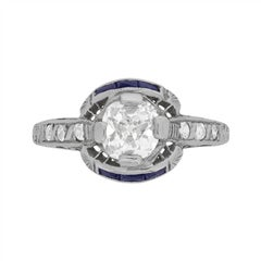 Art Deco Diamond and Sapphire Solitaire Ring, circa 1920s