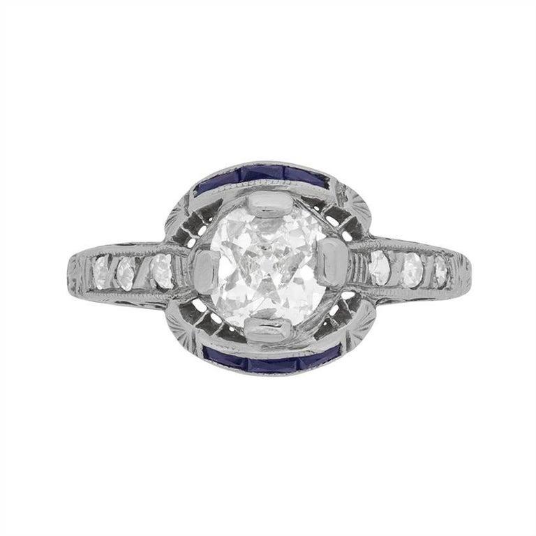 Art Deco Diamond and Sapphire Solitaire Ring, circa 1920s
