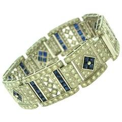 Art Deco Diamond and Sapphire Wide Bracelet in White Gold