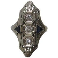 Art Deco Diamond and Synthetic Sapphire 18 Karat White Gold Ring