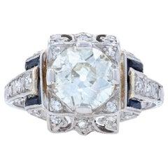 Art Deco Diamond and Synthetic Sapphire Ring, Platinum European 1.60 Carat