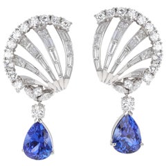 Art Deco Diamond and Tanzanite Clip-On Earrings