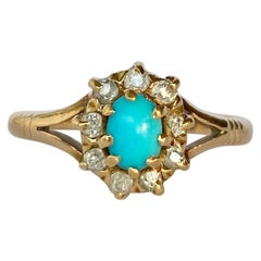 Art Deco Diamond and Turquoise 15 Carat Gold Cluster Ring