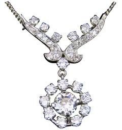 Art Deco Style Diamond and White Gold Pendant