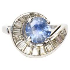 Art Deco Diamond Baguette, Sapphire and Platinum Ring