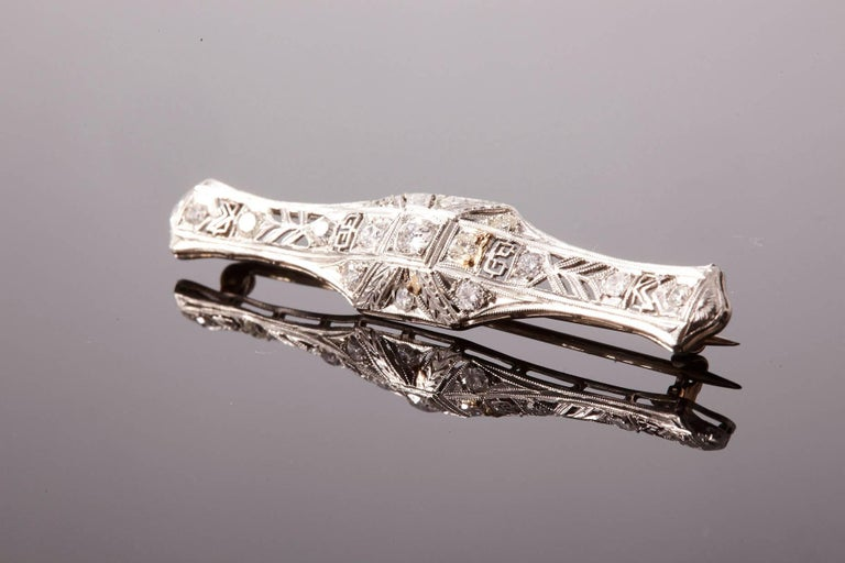 Women's or Men's Art Deco Diamond Bar Brooch For Sale