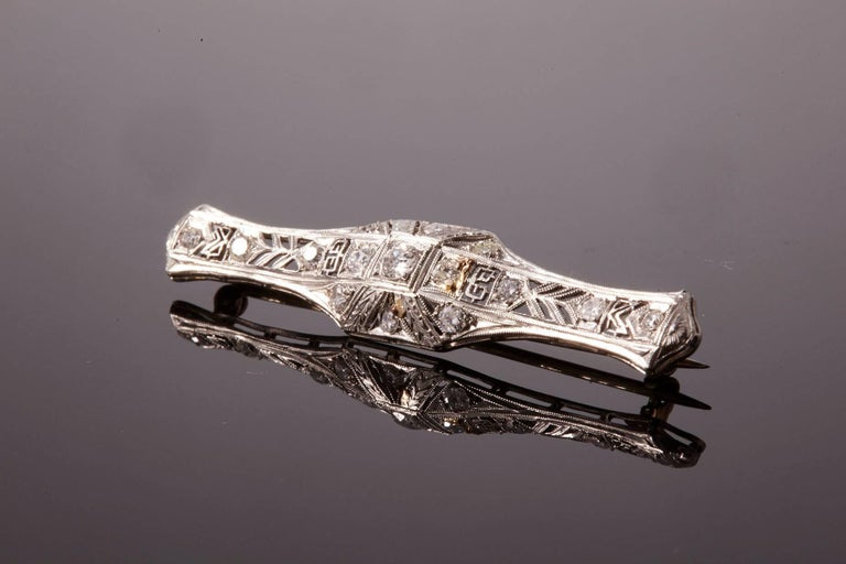 Art Deco Diamond Bar Brooch For Sale 1