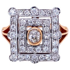Art Deco Style Diamond Bi-Color Gold Plaque Ring