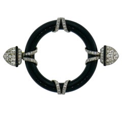 Art Deco Diamond Black Onyx Platinum Pin Brooch Clip, 1910s