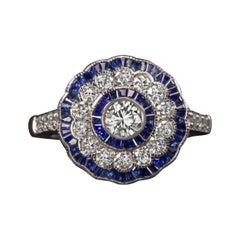 Art Deco Diamond Blue Sapphire Cocktail Ring